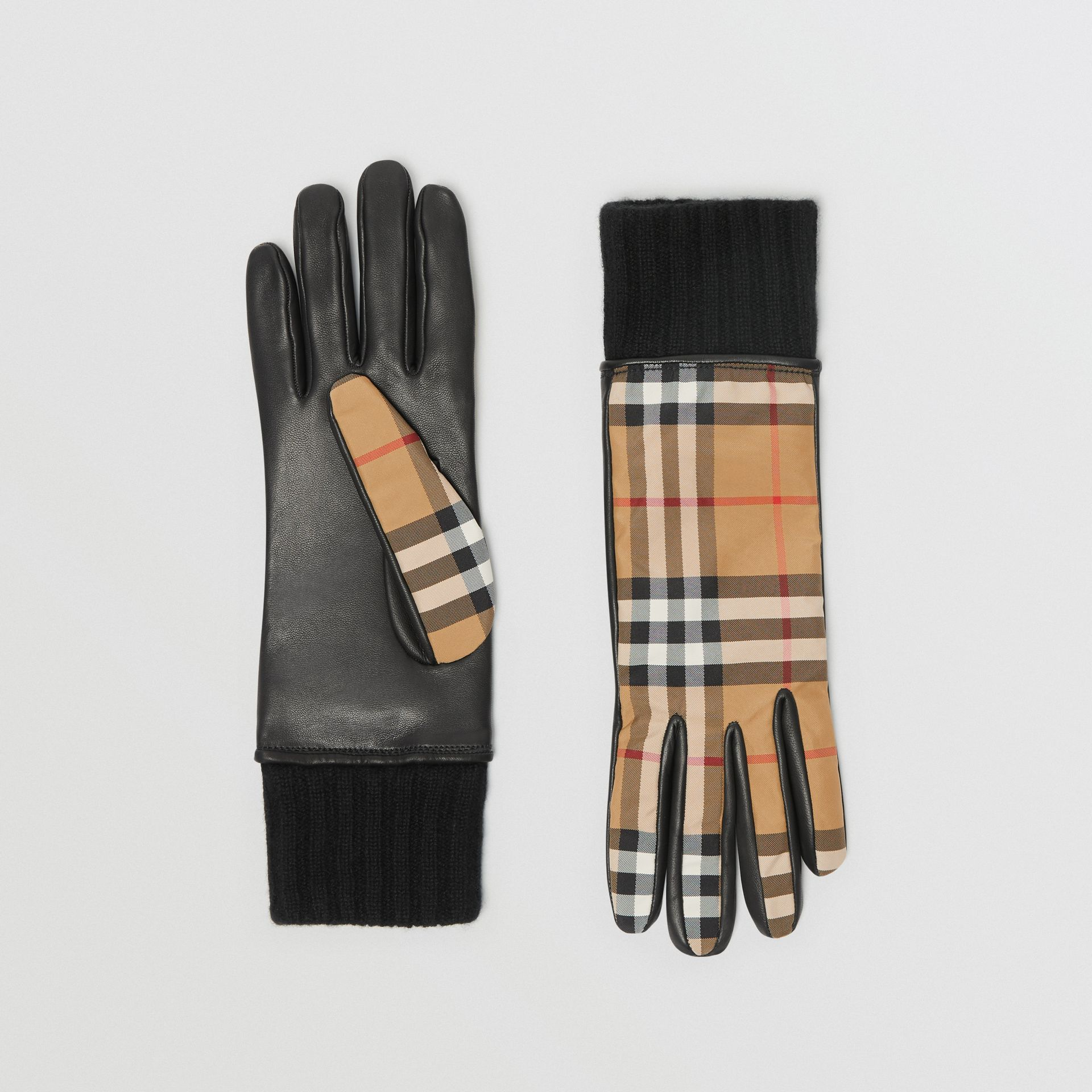 Cashmere-lined Vintage Check and Lambskin Gloves in Antique Yellow/black - Women | Burberry - gallery image 0