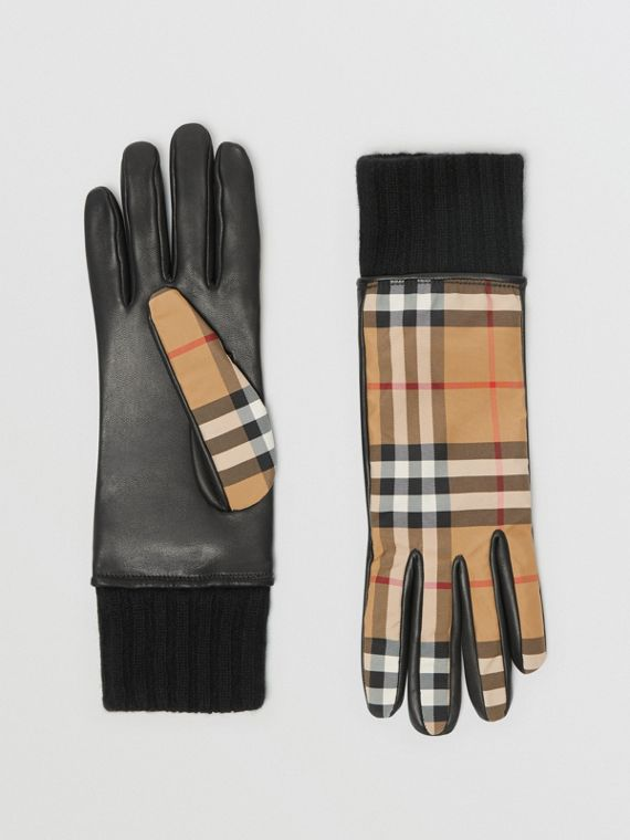 Cashmere-lined Vintage Check and Lambskin Gloves in Antique Yellow/black