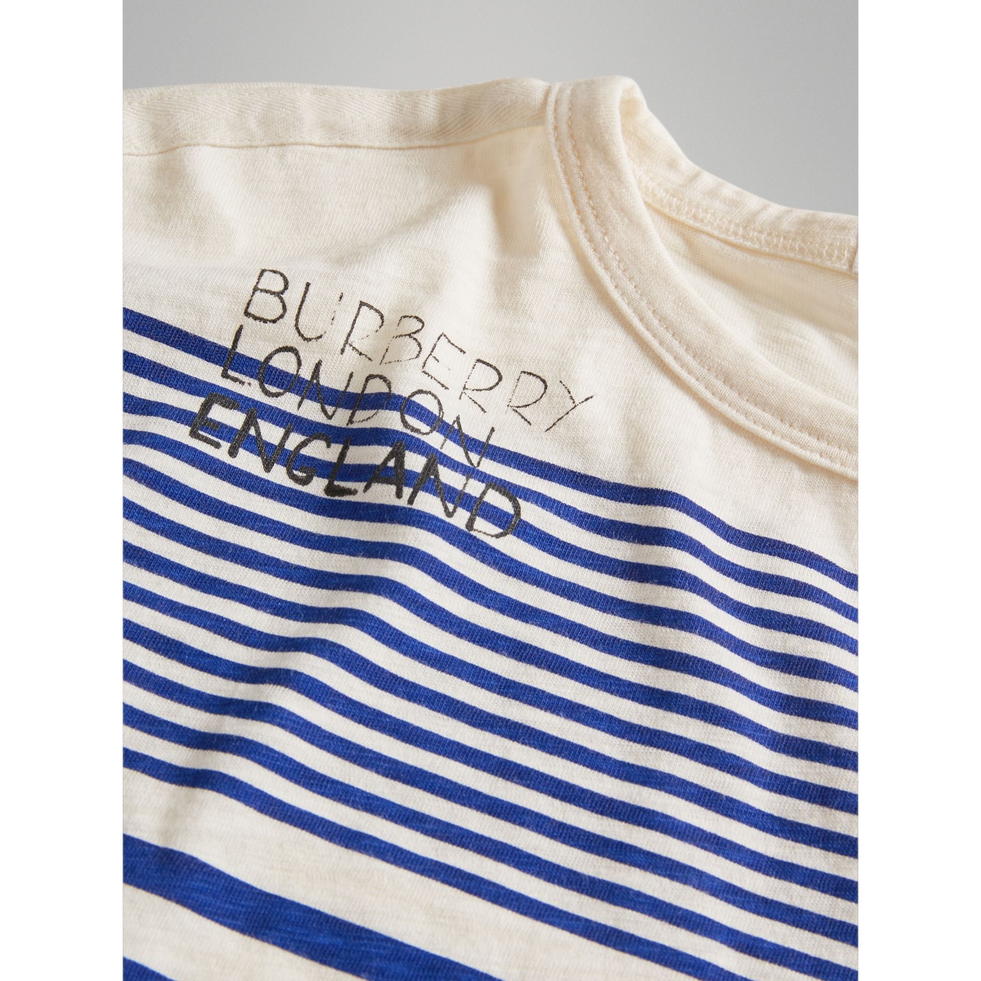 SW1 Print Striped Cotton Top in Bright Lapis/natural White - Boy | Burberry Singapore - gallery image 1