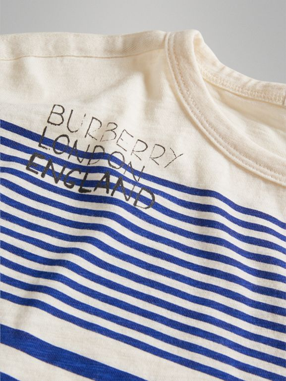 SW1 Print Striped Cotton Top in Bright Lapis/natural White - Boy | Burberry United Kingdom - cell image 1