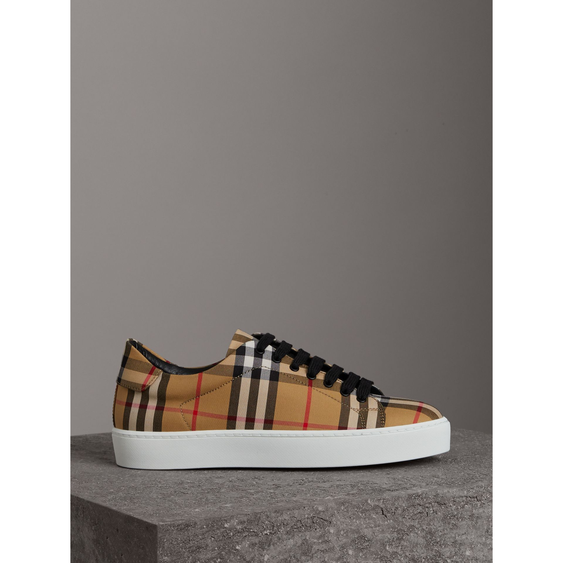 Vintage Check and Leather Sneakers in Antique Yellow - Women | Burberry Hong Kong - gallery image 4