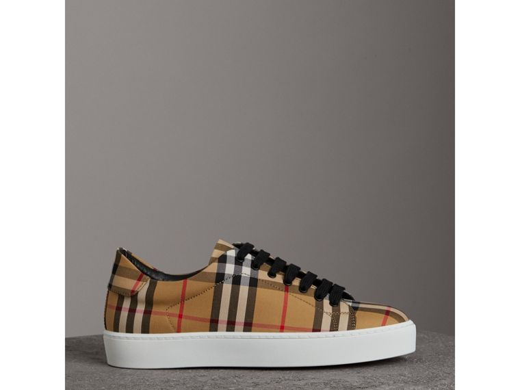 Vintage Check and Leather Sneakers in Antique Yellow - Women | Burberry Hong Kong - cell image 4