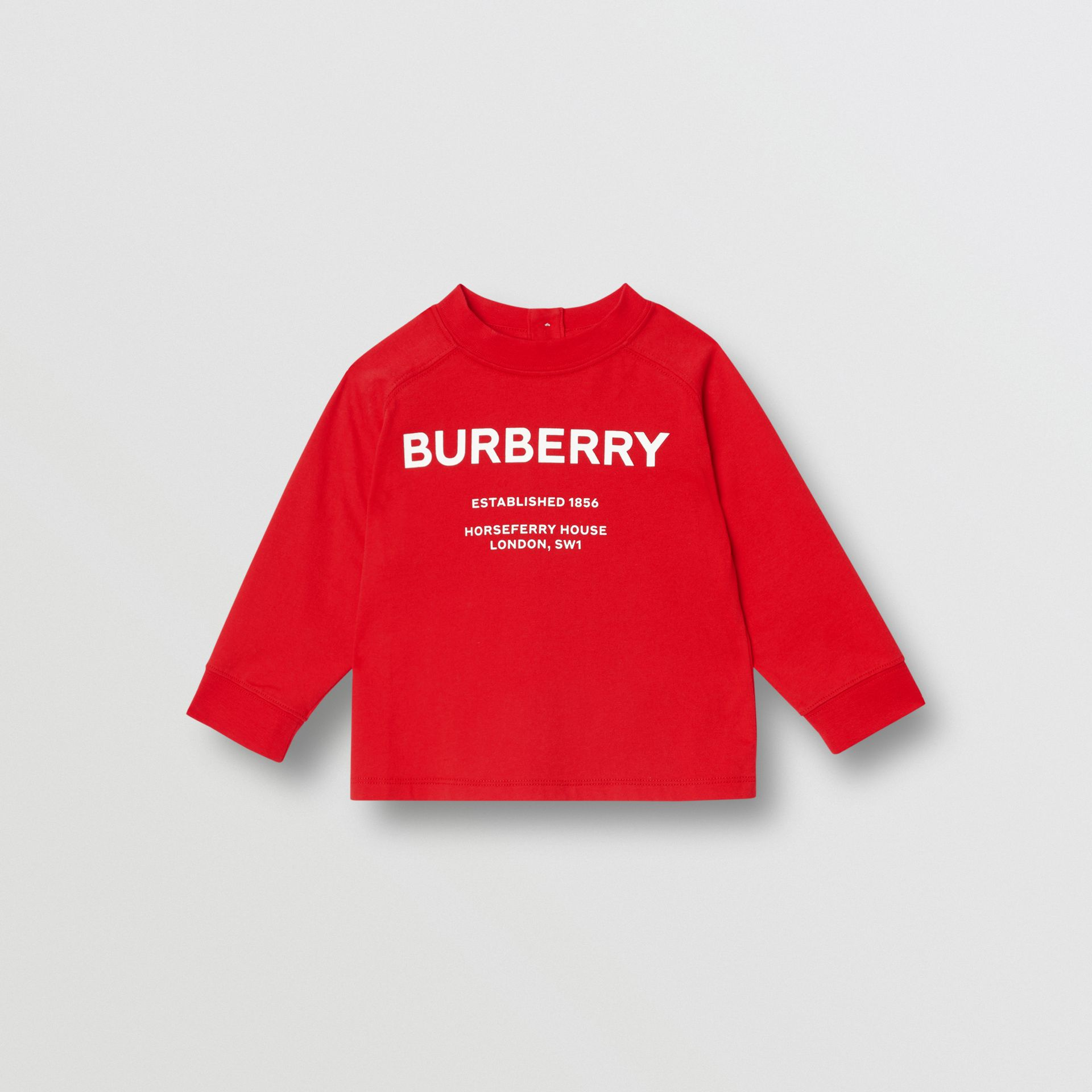 Long-sleeve Horseferry Print Cotton Top in Bright Red - Children | Burberry - gallery image 0