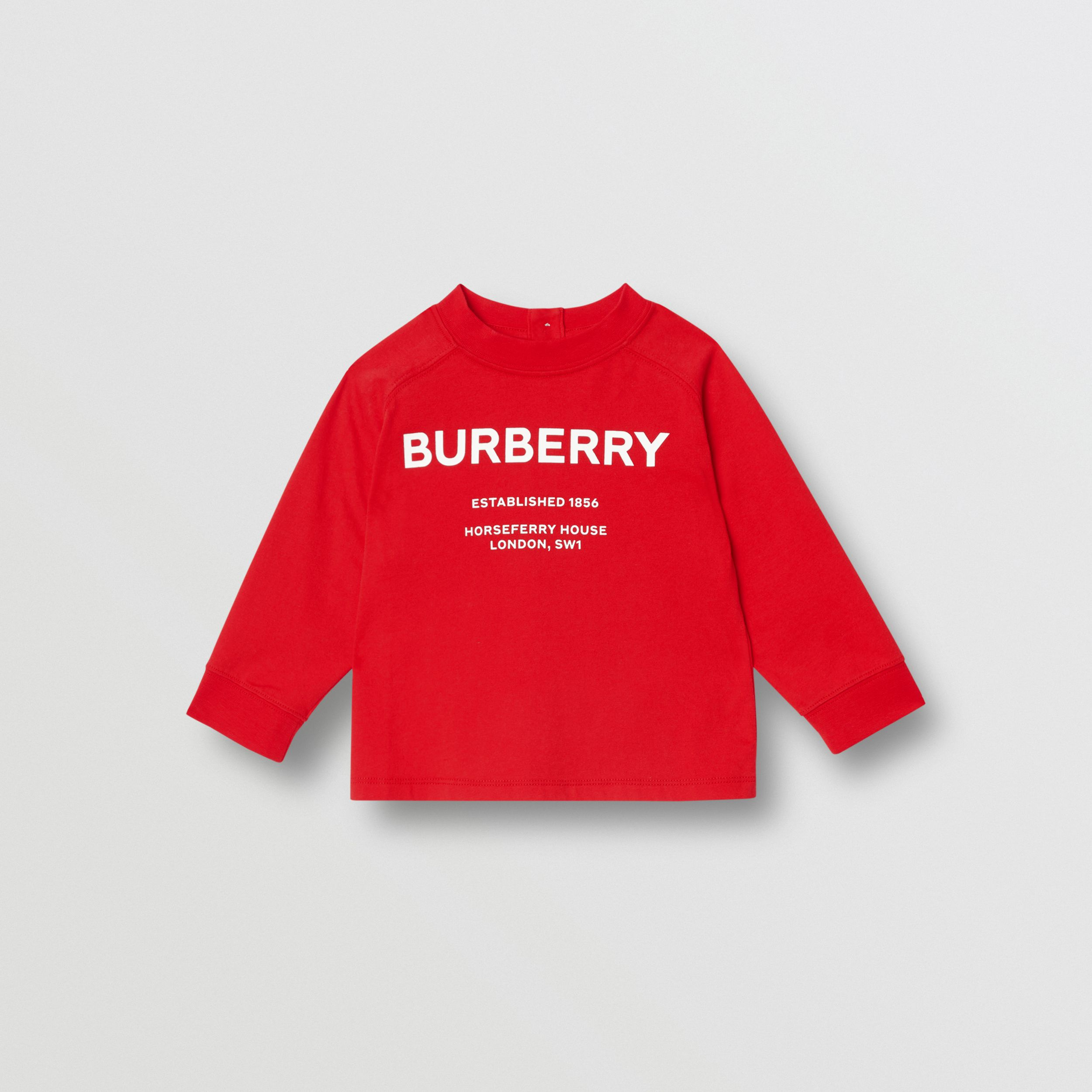 Long-sleeve Horseferry Print Cotton Top in Bright Red - Children | Burberry - 1