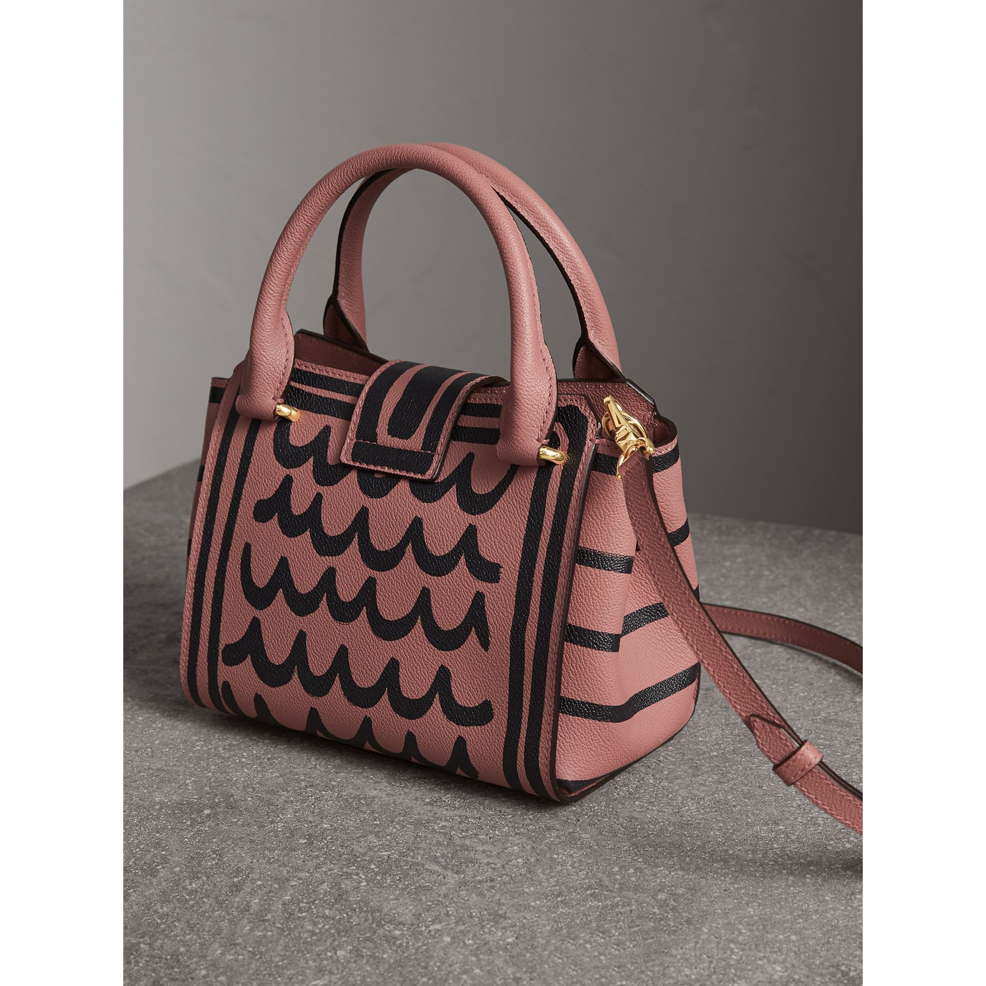 The Small Buckle Tote in Trompe L'oeil Print Leather in Dusty Pink - Women | Burberry - gallery image 5