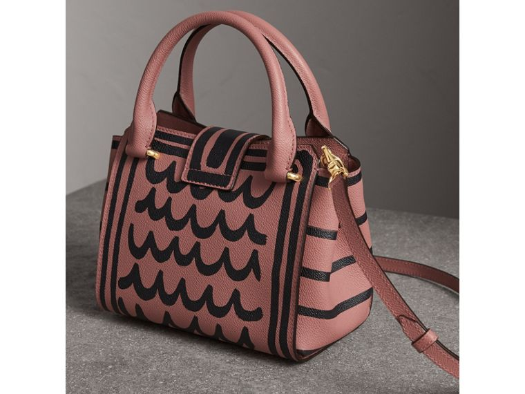 The Small Buckle Tote in Trompe L'oeil Print Leather in Dusty Pink - Women | Burberry - cell image 4