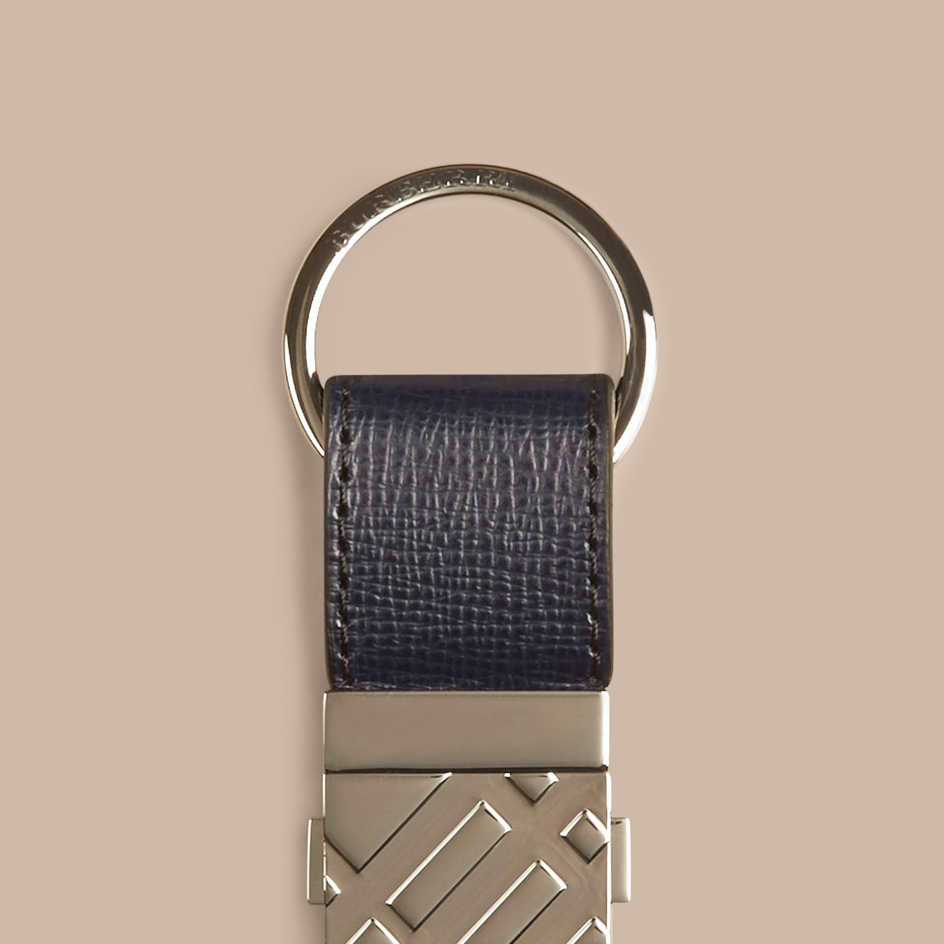 Dark navy London Leather Valet Key Ring Dark Navy - gallery image 2