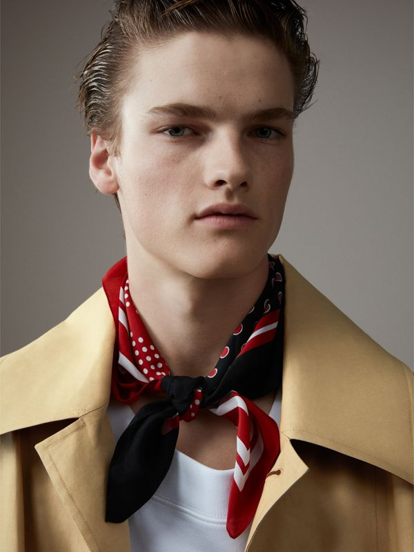 Dot and Stripe Print Silk Square Scarf in Military Red | Burberry - cell image 3
