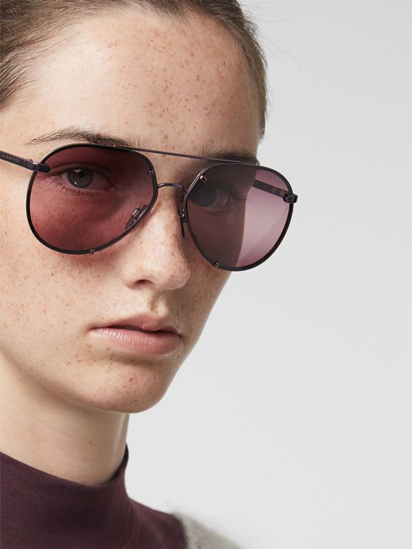 Check Detail Pilot Sunglasses in Blue - Women | Burberry Singapore - cell image 2