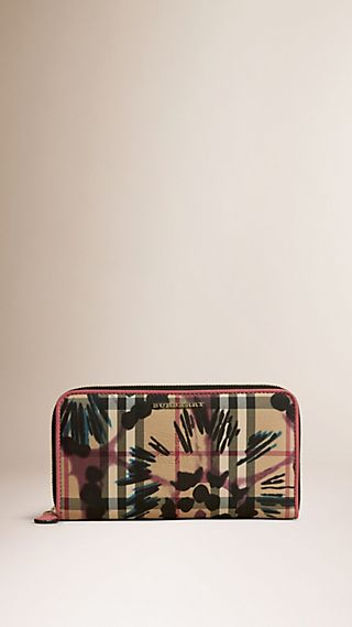 Tie-dye Print Horseferry Check Ziparound Wallet