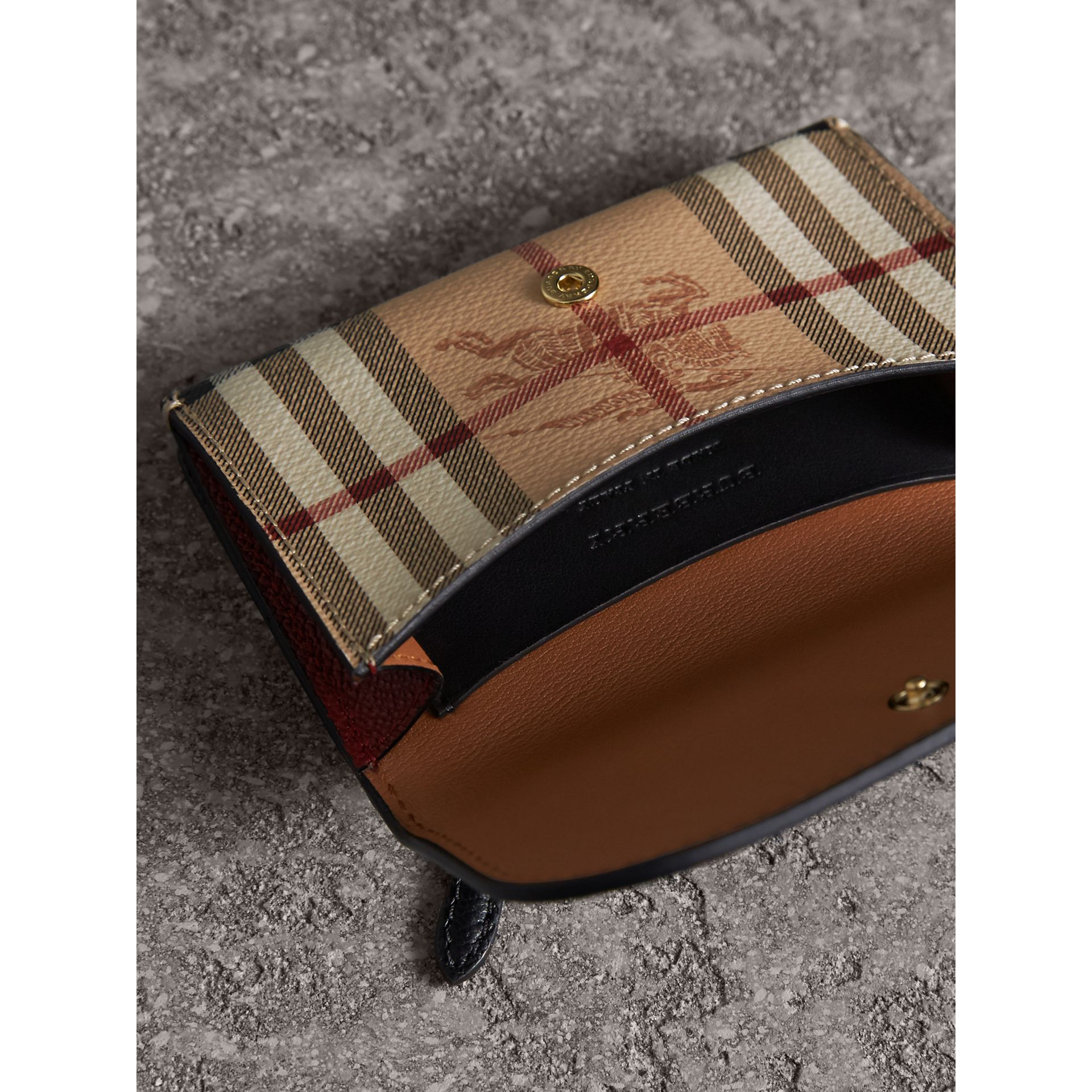 Leather and Haymarket Check Mini Wallet in Burgundy/multicolour | Burberry Australia - gallery image 3