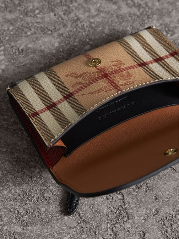Leather and Haymarket Check Mini Wallet in Burgundy/multicolour | Burberry Australia - cell image 3