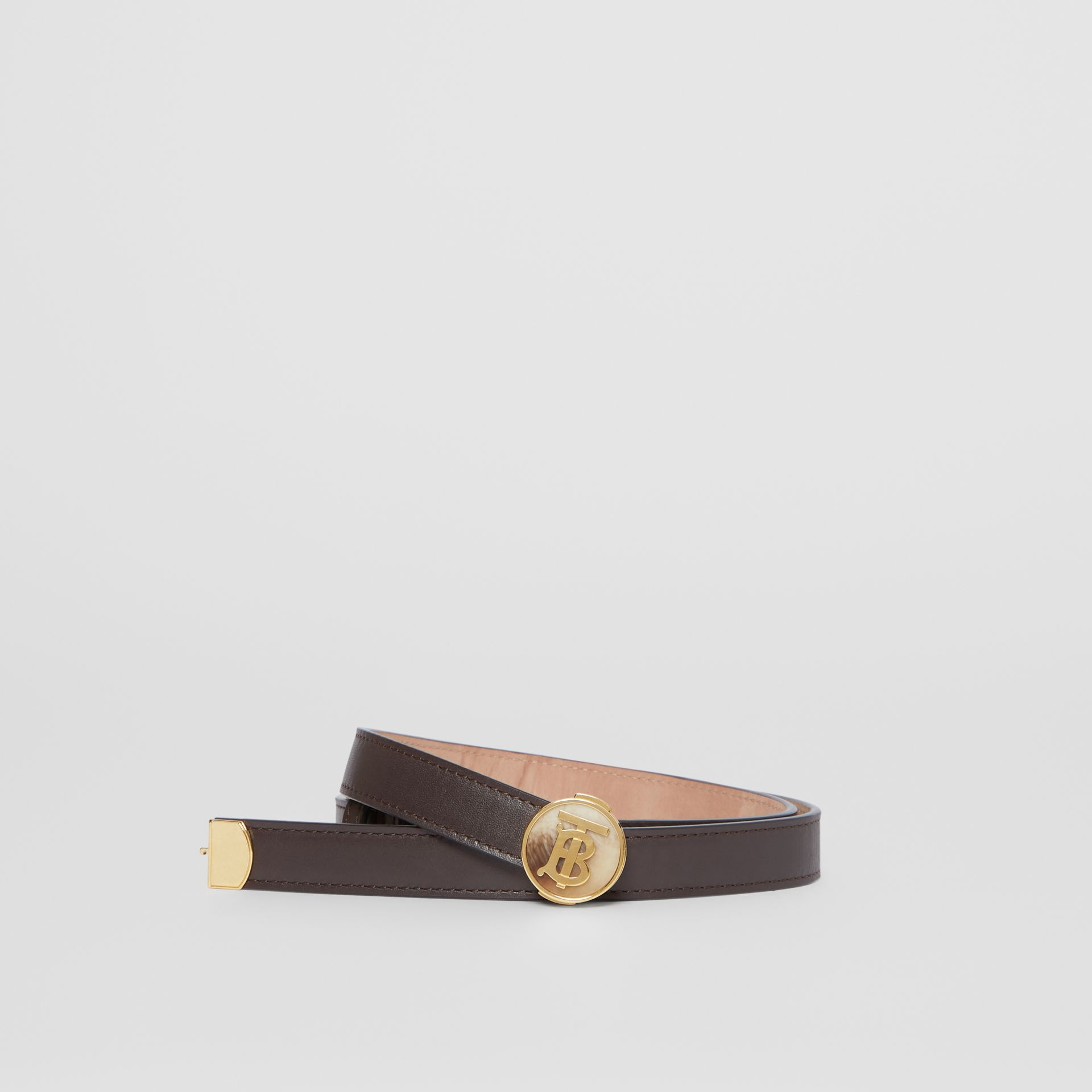 Monogram Motif Leather Belt in Deep Brown - Women | Burberry - gallery image 0