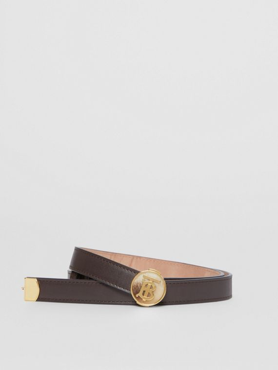 Monogram Motif Leather Belt in Deep Brown