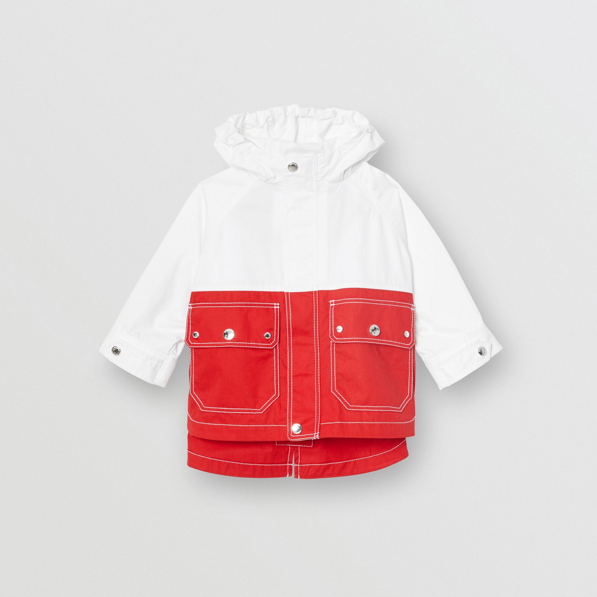 Topstitched Cotton Hooded Jacket in White - Children | Burberry - gallery image 0