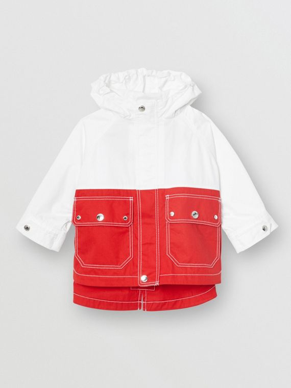 Topstitched Cotton Hooded Jacket in White