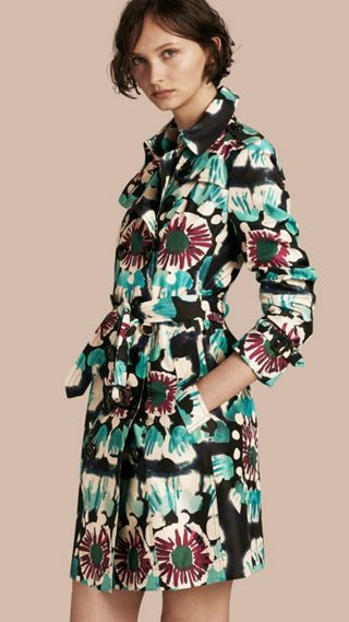Tie-dye Print Silk Trench Coat