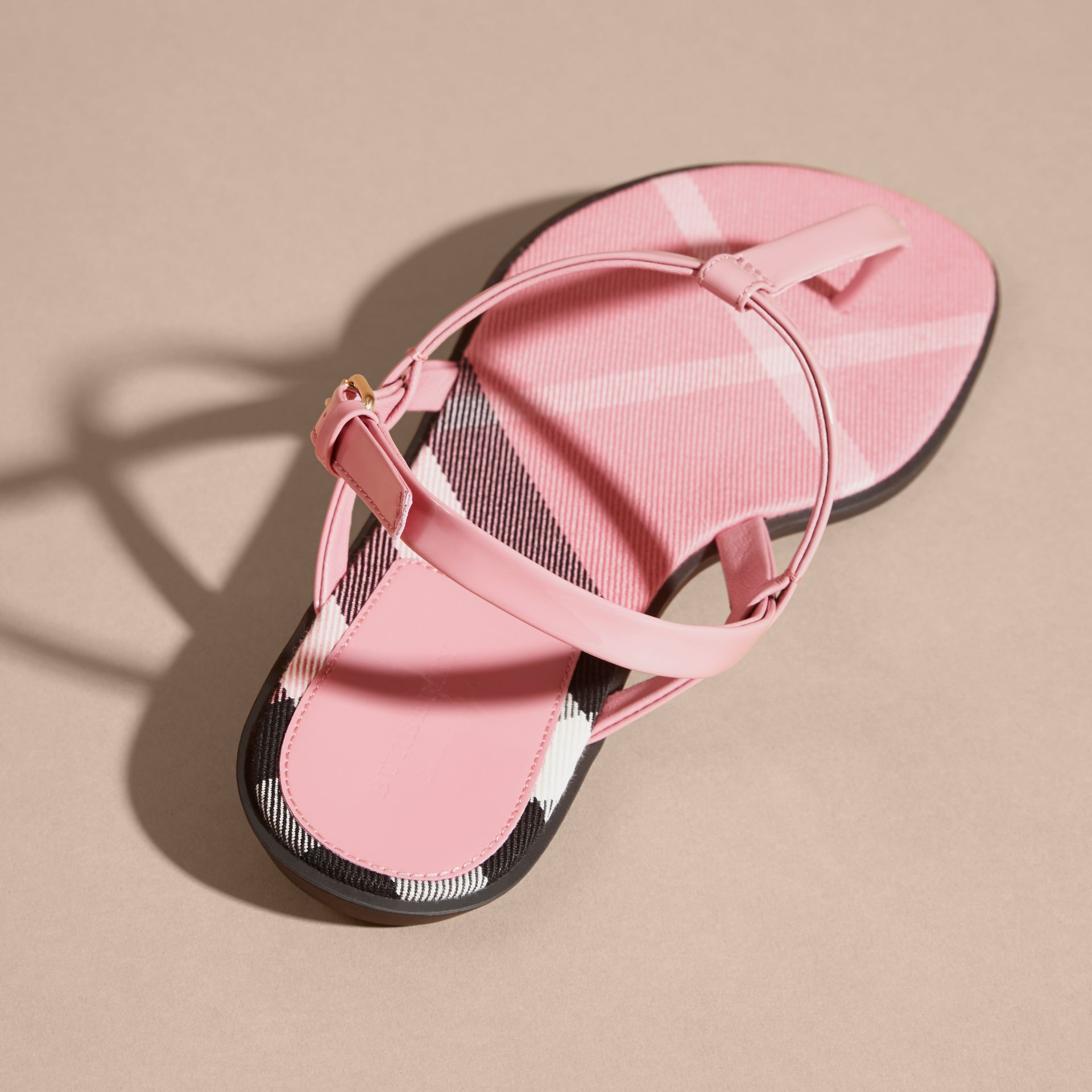 House Check-lined Leather Sandals Berry Pink - gallery image 4