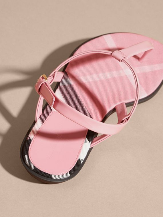 Berry pink House Check-lined Leather Sandals Berry Pink - cell image 3