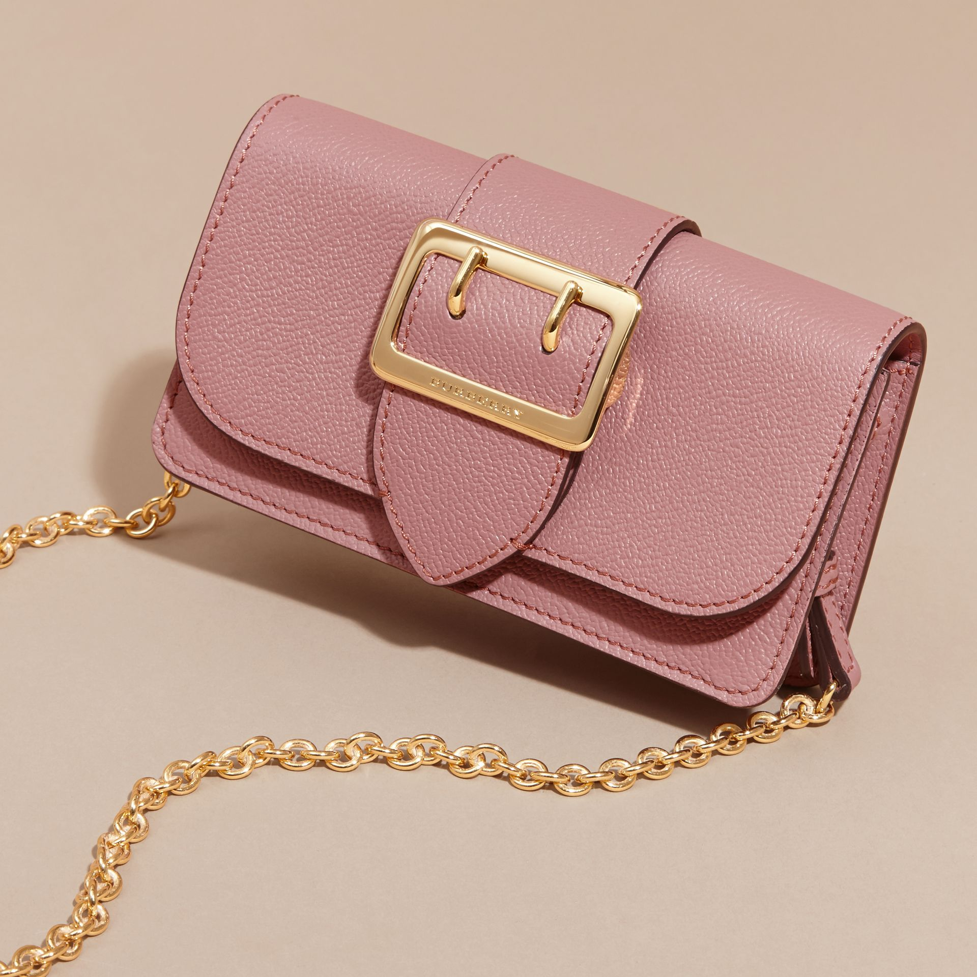 The Mini Buckle Bag in Grainy Leather Dusty Pink - gallery image 8