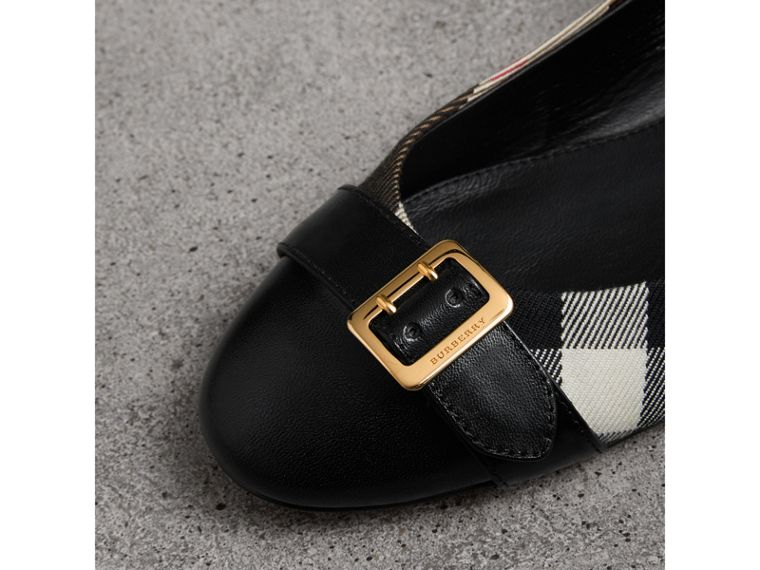 Buckle Detail House Check and Leather Ballerinas in Black - Women | Burberry - cell image 1