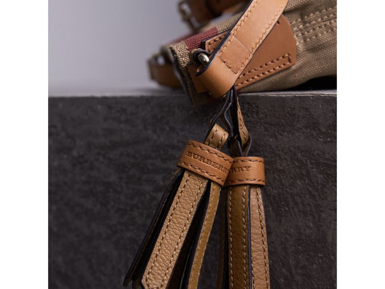 The Small Ashby in Canvas Check and Leather in Saddle Brown - Women | Burberry United States - cell image 1