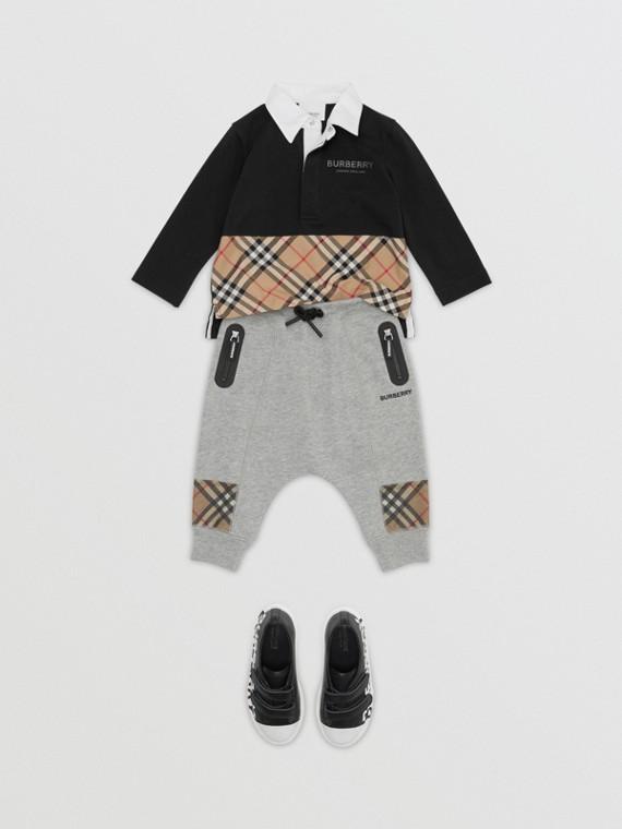 Polo à manches longues en coton avec Vintage check (Noir)