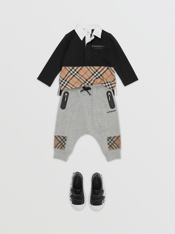 Long-sleeve Vintage Check Panel Cotton Polo Shirt in Black - Children | Burberry United Kingdom - cell image 2