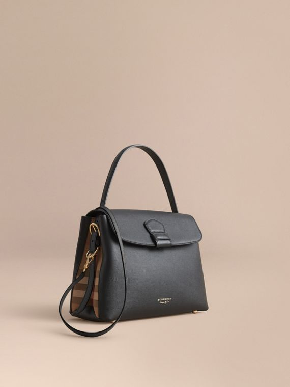 Medium Grainy Leather and House Check Tote Bag in Black