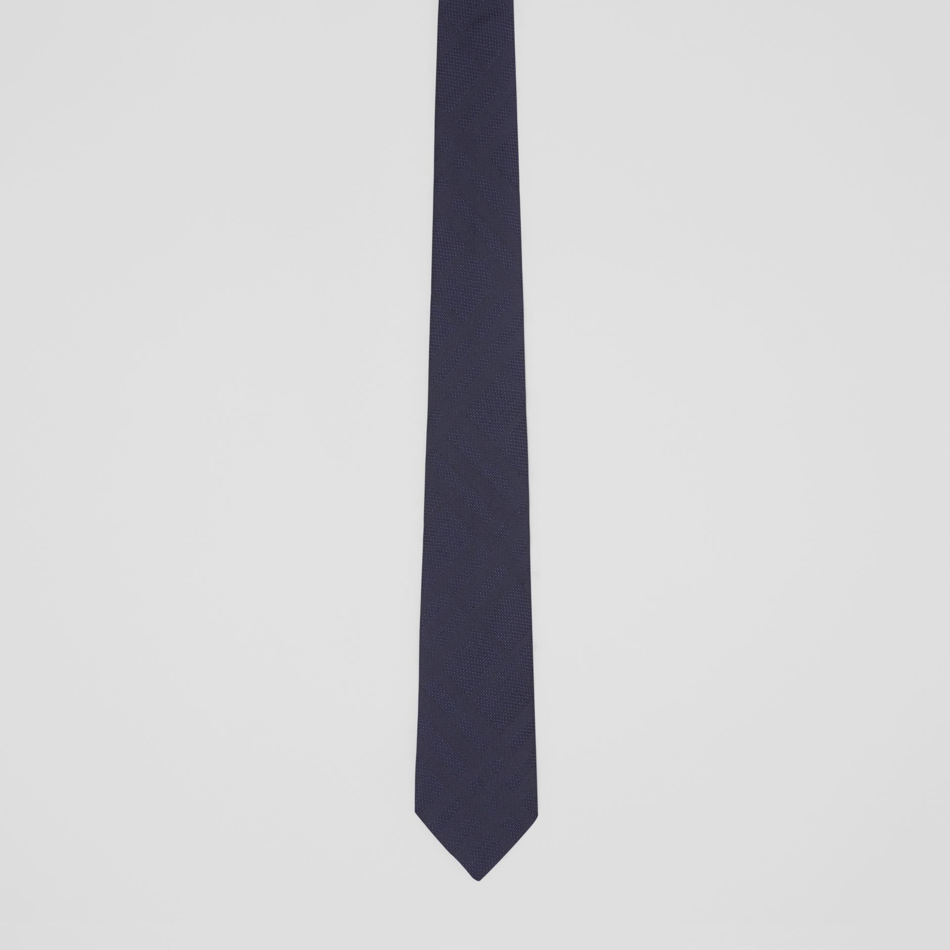 Classic Cut Check Silk Jacquard Tie in Navy - Men | Burberry United Kingdom - gallery image 3