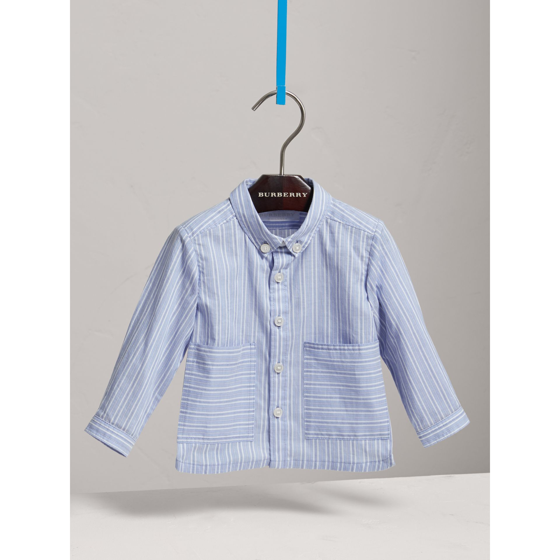 Directional Stripe Cotton Shirt in City Blue | Burberry - gallery image 0