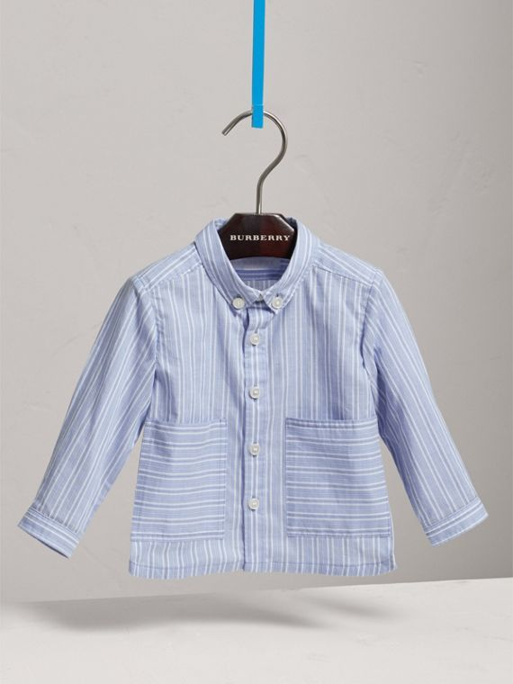 Directional Stripe Cotton Shirt in City Blue