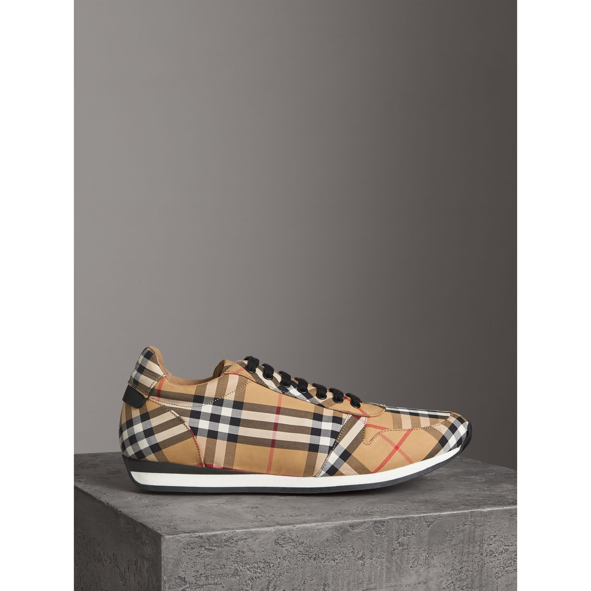 Vintage Check Cotton Trainers in Antique Yellow - Men | Burberry - gallery image 4