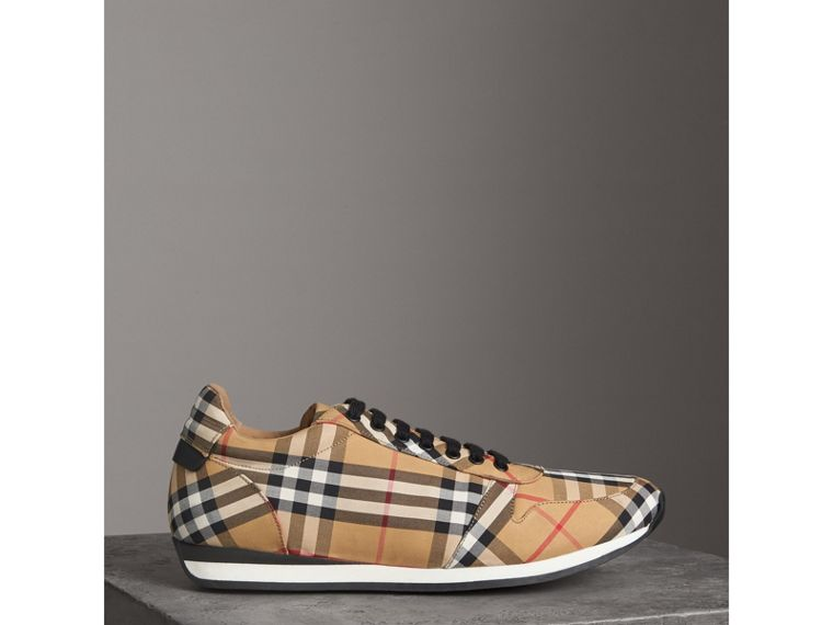 Vintage Check Cotton Trainers in Antique Yellow - Men | Burberry - cell image 4