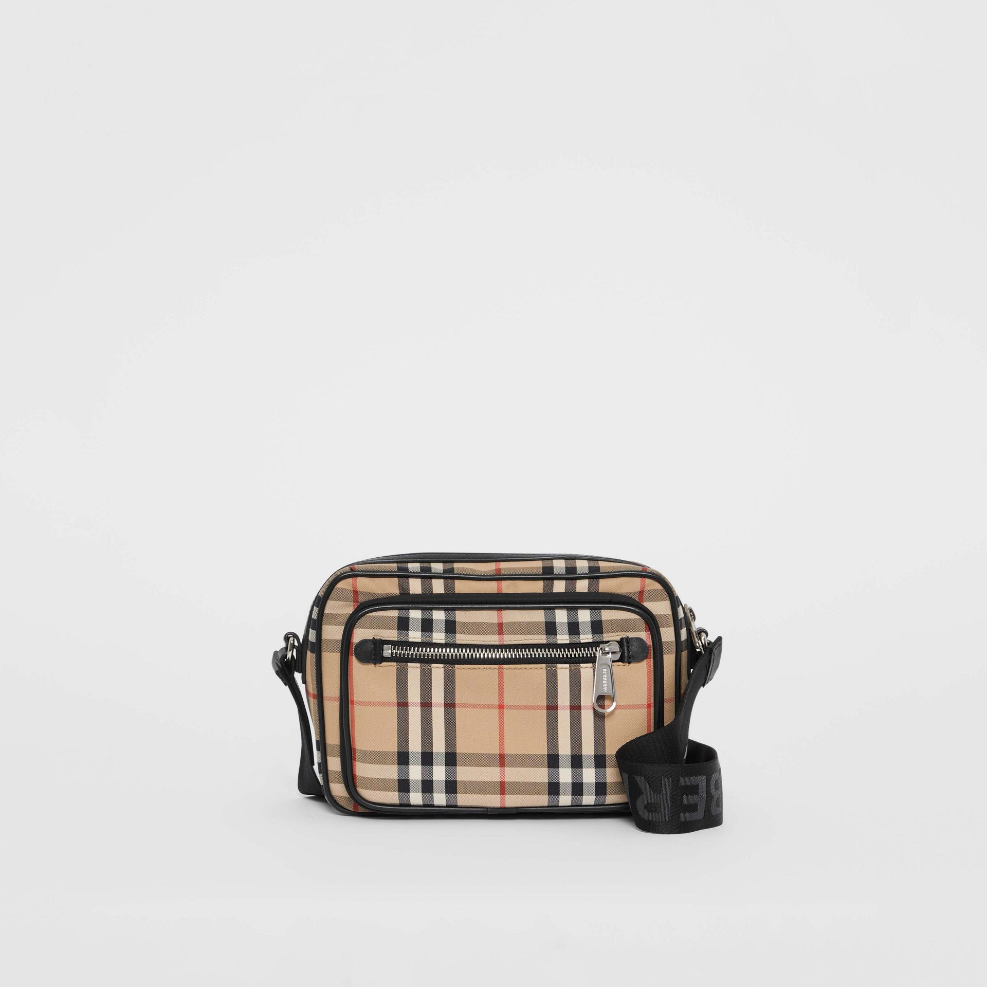 Vintage Check and Leather Crossbody Bag in Archive Beige - Men | Burberry Australia - gallery image 0