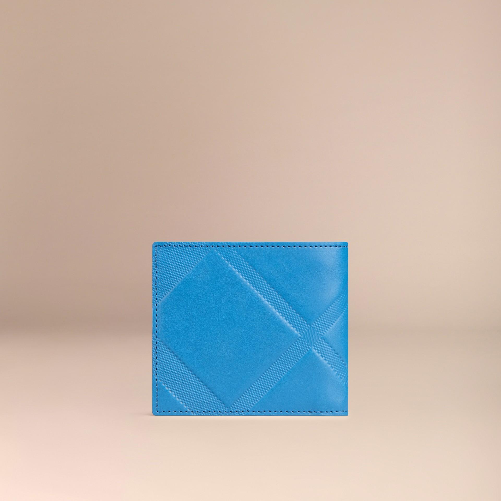 Лазурно-синий Складной бумажник из кожи с тиснением Лазурно-синий - изображение 3