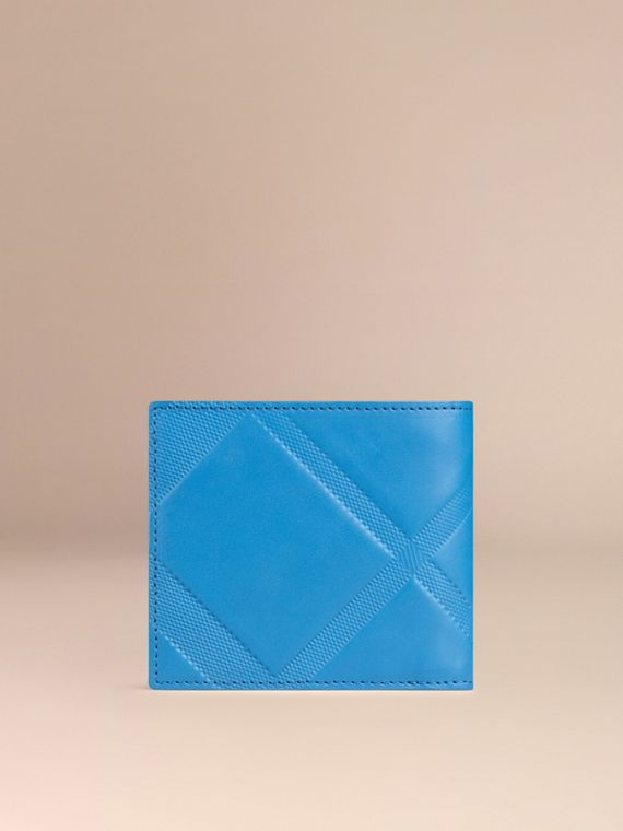 Blue azure Check-embossed Leather Folding Wallet Blue Azure - cell image 2