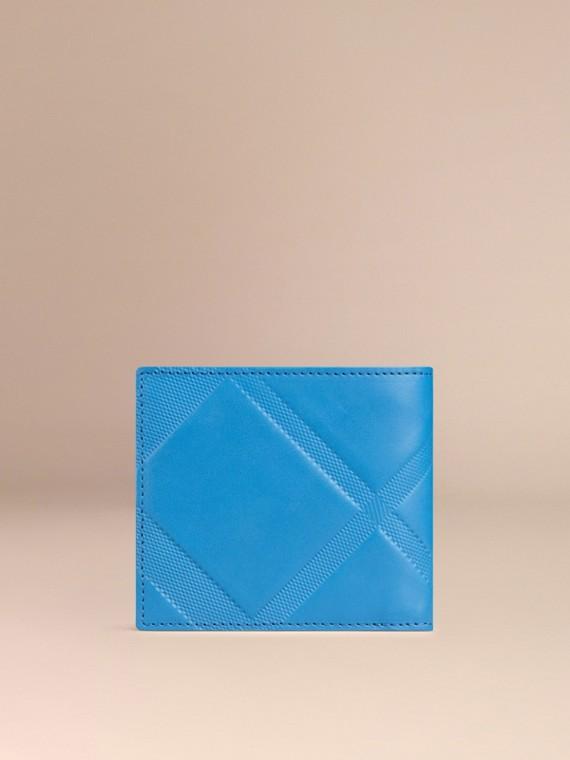 Лазурно-синий Складной бумажник из кожи с тиснением Лазурно-синий - cell image 2