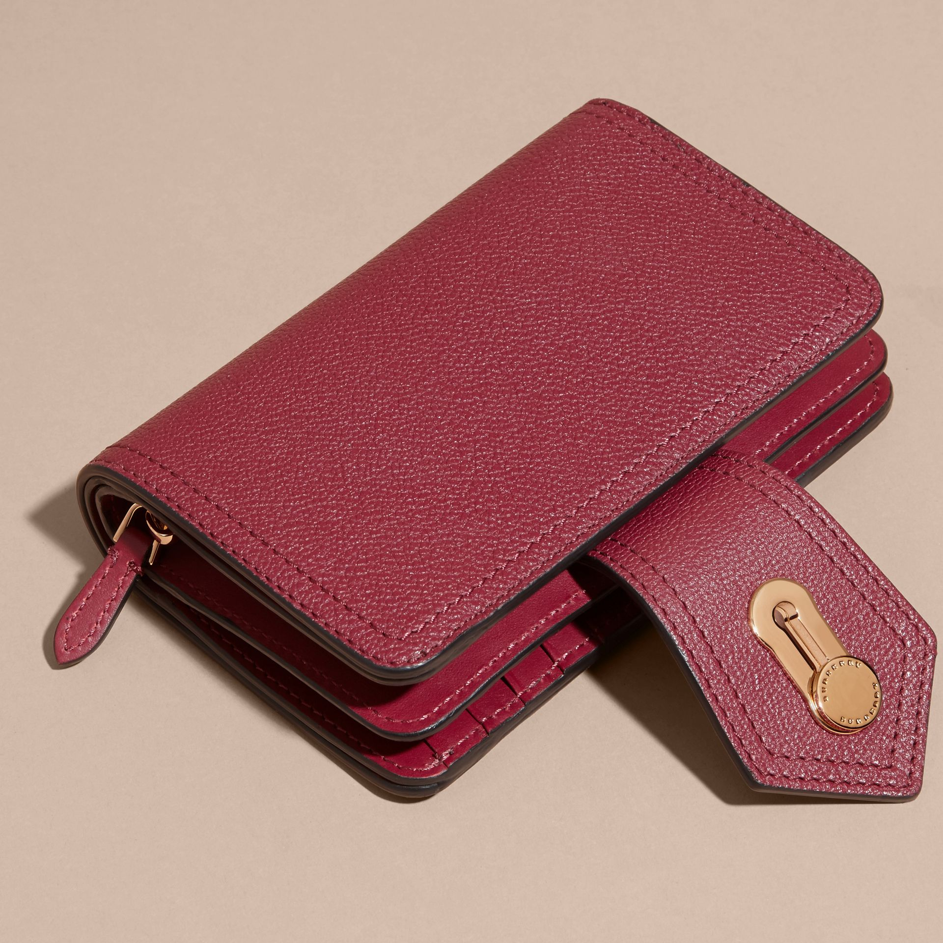 Dark plum Grainy Leather Wallet Dark Plum - gallery image 3