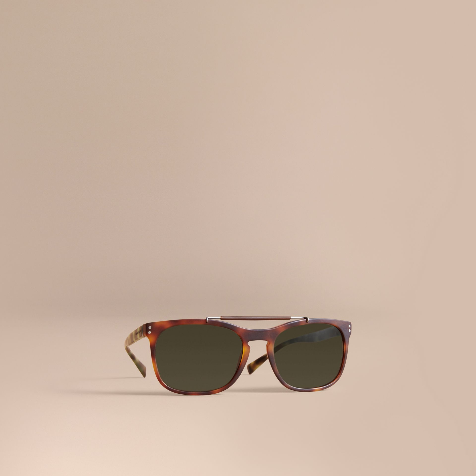 Top Bar Square Frame Sunglasses in Brown - Men | Burberry - gallery image 1