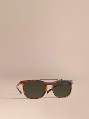 burberry blue sunglasses j3bx  Top Bar Square Frame Sunglasses Brown