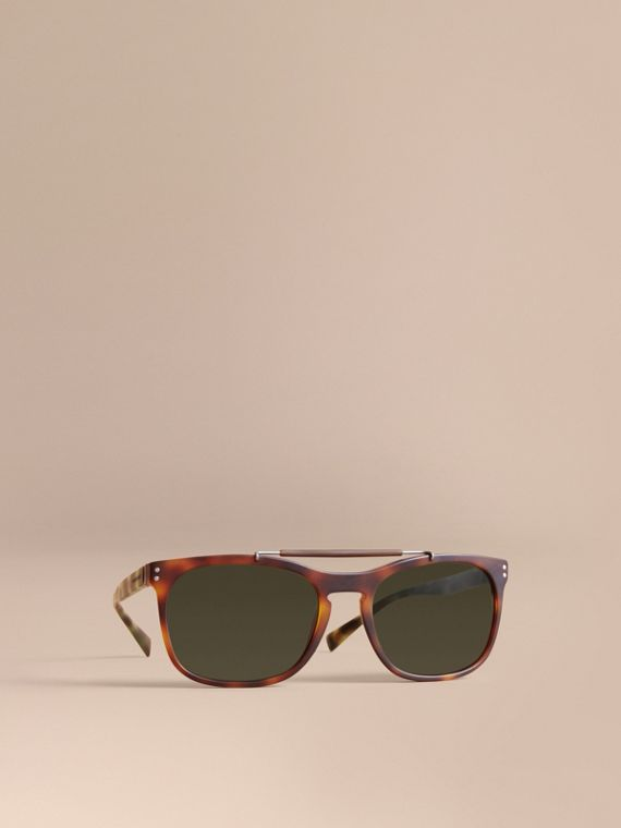 Top Bar Square Frame Sunglasses in Brown - Men | Burberry Hong Kong