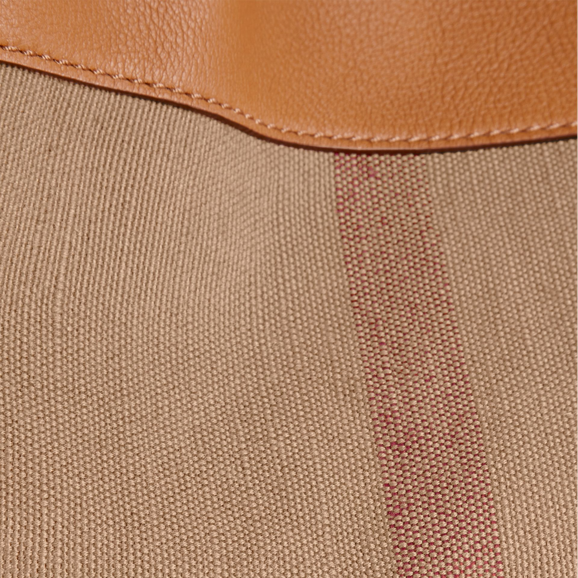 Saddle brown The Medium Ashby in Canvas Check and Leather Saddle Brown - gallery image 2