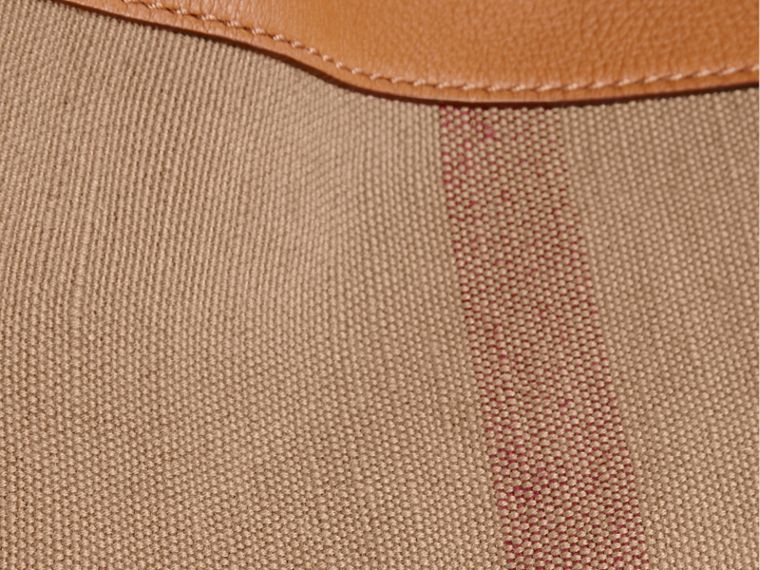 Saddle brown The Medium Ashby in Canvas Check and Leather Saddle Brown - cell image 1