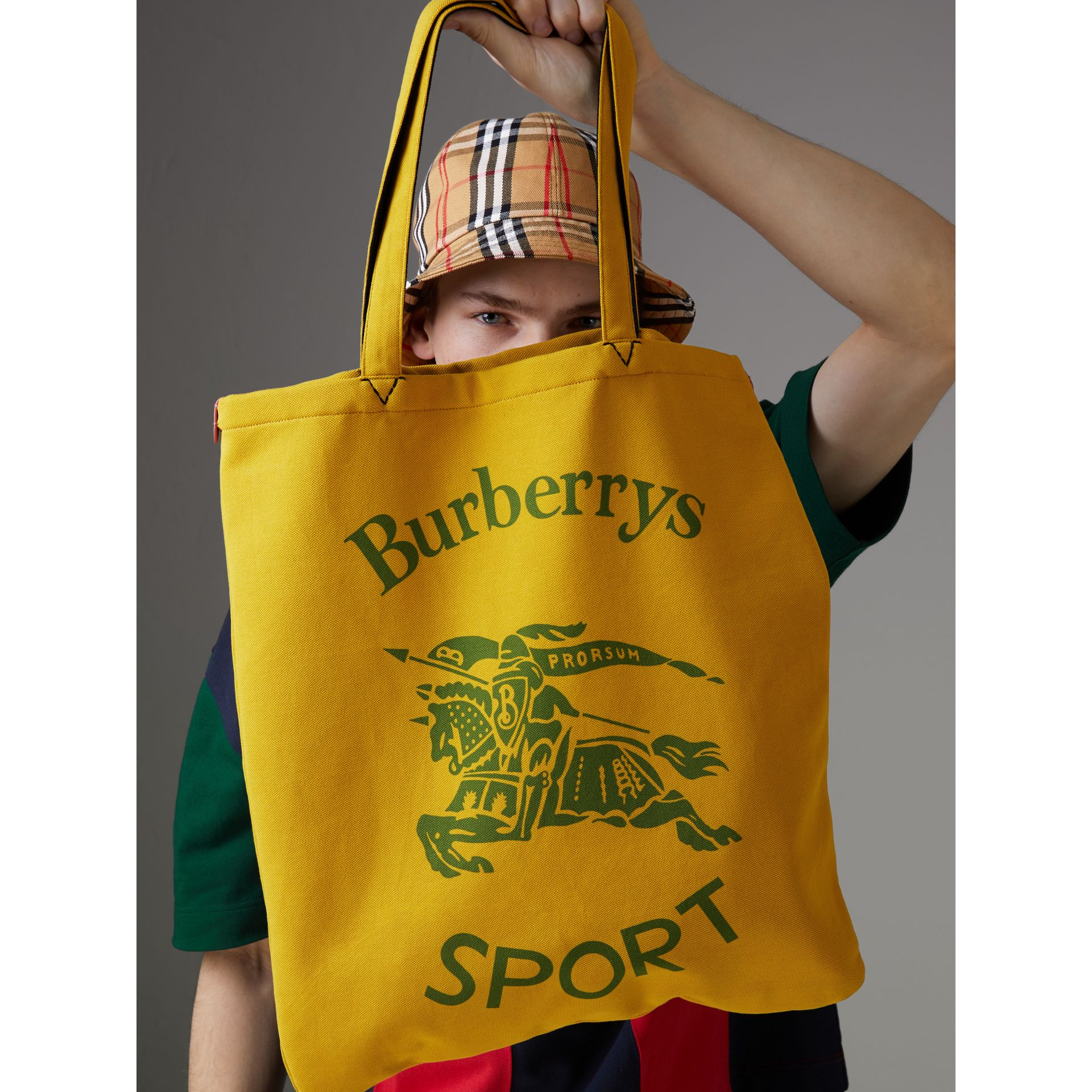 Large Archive Logo Jersey Shopper in Ochre Yellow | Burberry United States - gallery image 5