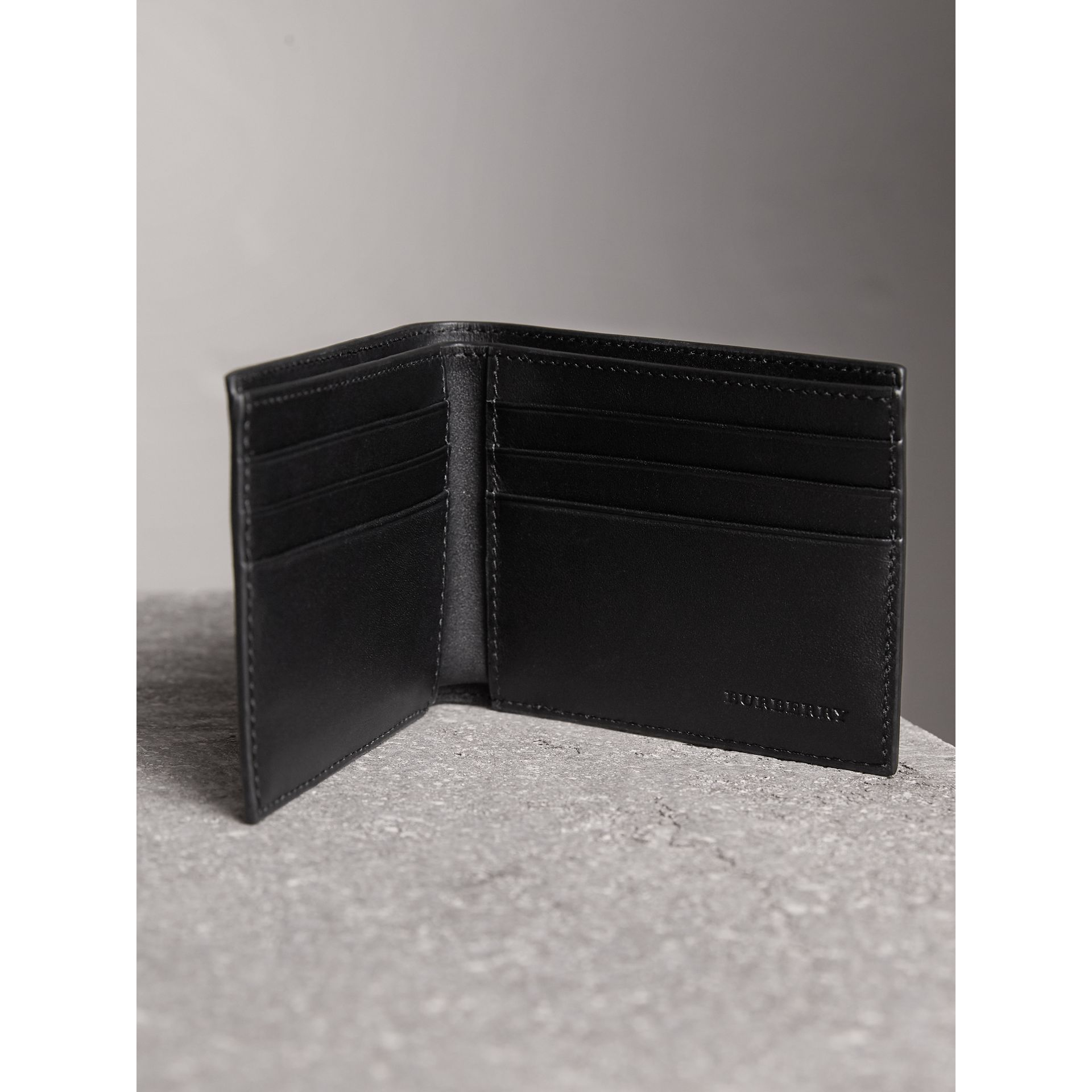 London Check and Leather Bifold Wallet in Navy/black - Men | Burberry United States - gallery image 3