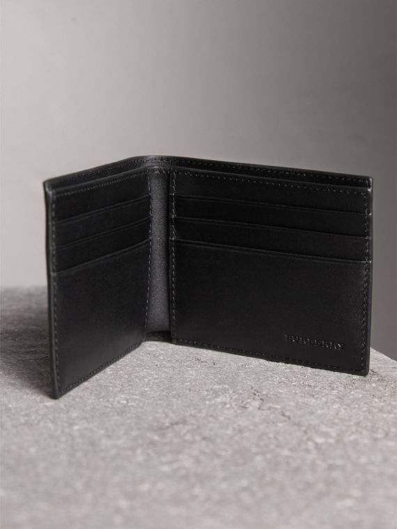 London Check and Leather Bifold Wallet in Navy/black - Men | Burberry Singapore - cell image 3