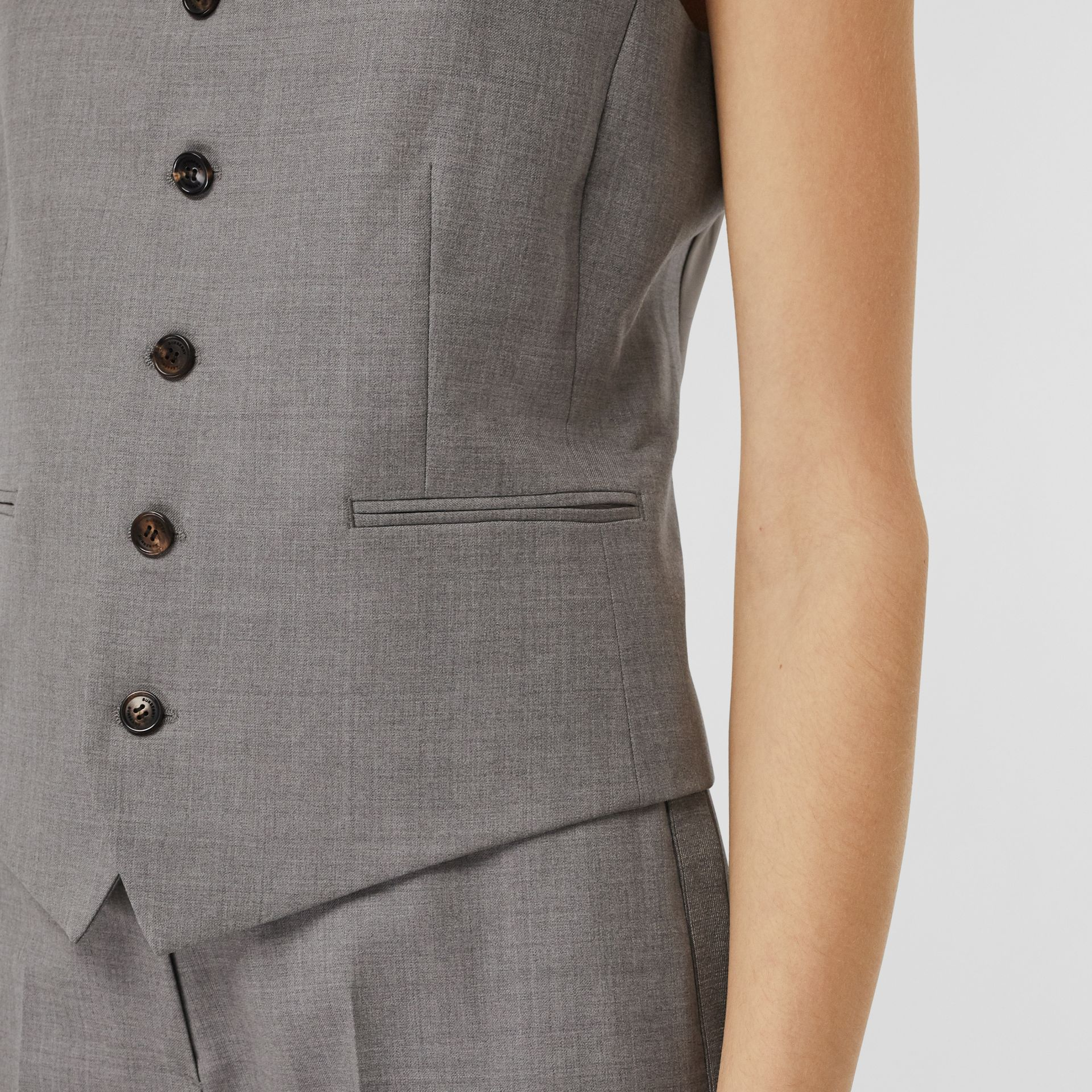 Satin Panel Wool Tailored Waistcoat in Flint - Women | Burberry - gallery image 4