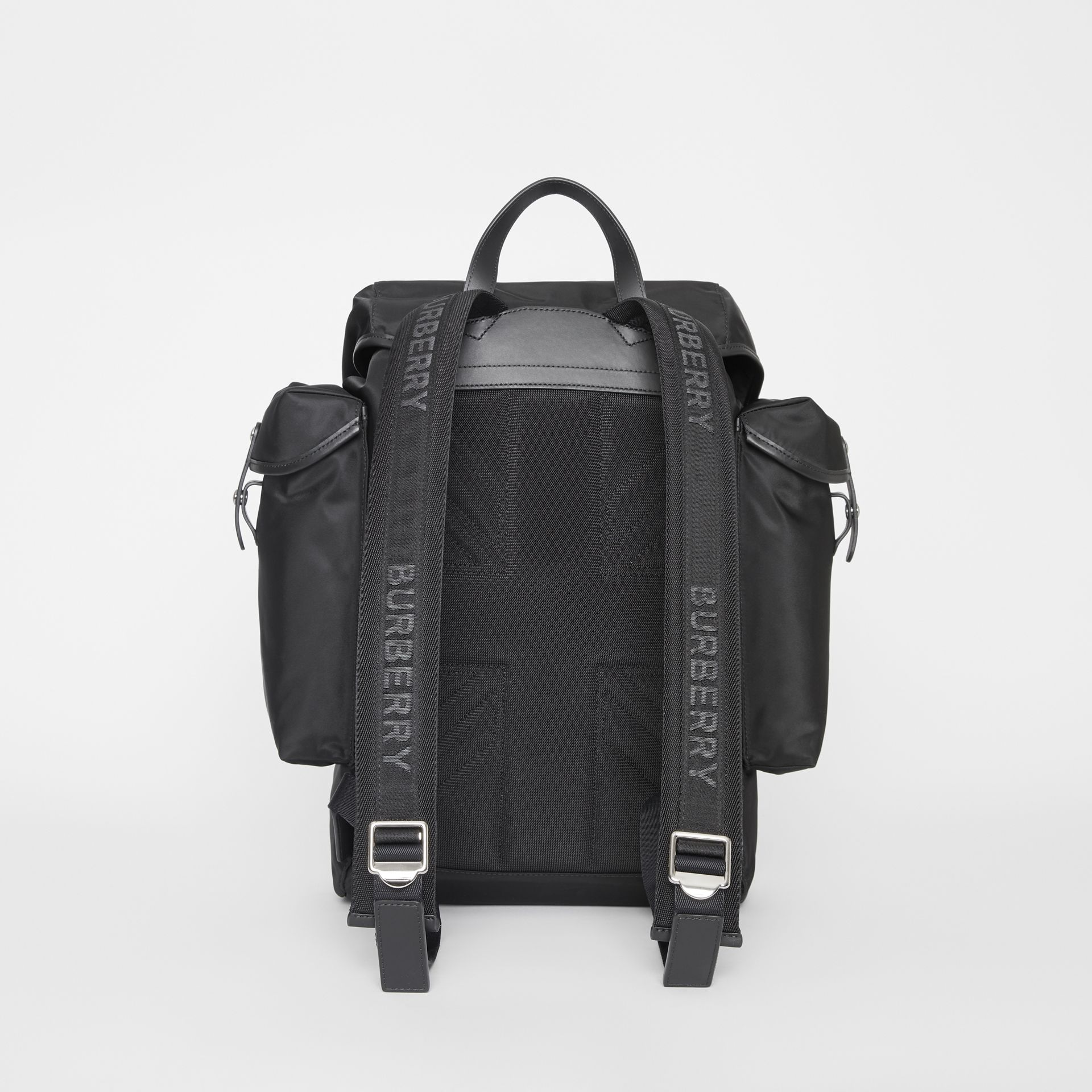 Logo Detail Nylon and Leather Backpack in Black - Men | Burberry - gallery image 7