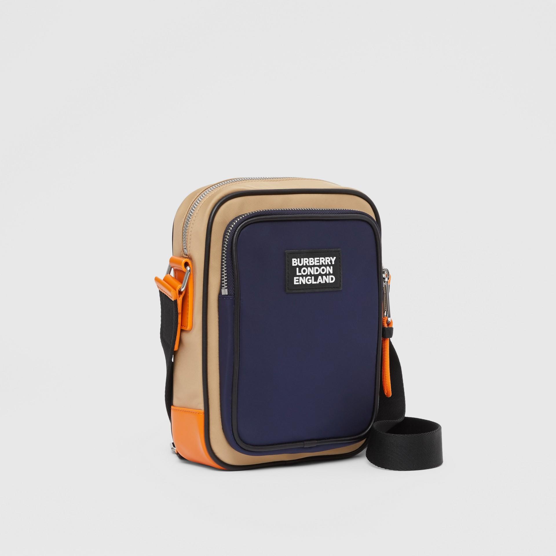 Logo Appliqué Two-tone ECONYL® Crossbody Bag in Regency Blue/bright Orange - Men | Burberry United Kingdom - gallery image 6